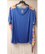 NEW WOMENS PLUS SIZE 4X BRITE BLUE TEE SHIRT W GEO PRINT SIDES & CUTE SI... - $19.34