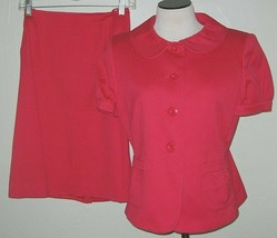 Vintage Le Suit 10 P Skirt Suit  Red Peter Pan Collar 2 Piece - $46.71