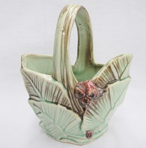 """McCoy Pottery Leaf and Berry Basket 9"""" to Top of Handle Green Brown Hair... - $17.81"""