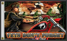 DELUXE BIKER FLAG VETS DON'T FORGET MIA POW novelty flag  3 X 5 - $14.82