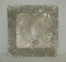 Vintage Hand Forged Everlast Aluminum Square Tray Embossed Branch Pineco... - $29.69