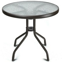 Patio Table Outdoor Round Steel Tempered Glass 24 Inch Furniture Black W... - $54.44