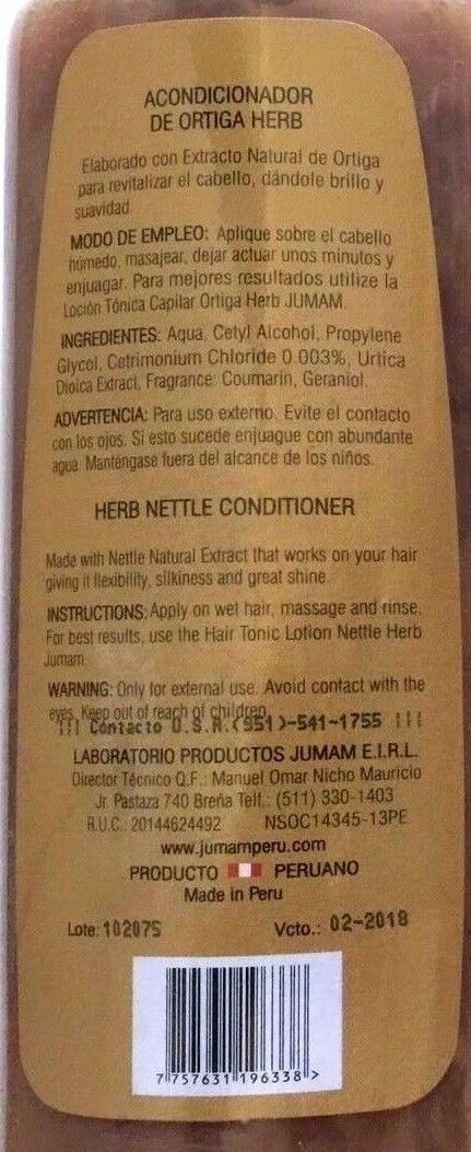 2x ORTIGA NETTLE Conditioner Hair Root Strengthener From PERU Brand NEW !