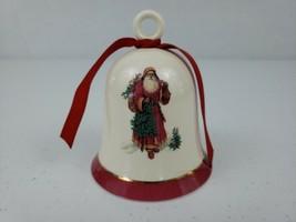 VTG Ceramic Christmas Santa Bell Ornament Hallmark With Holly Rare Vtg S... - $29.99