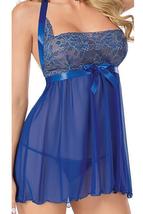 Unomatch Women Soft Sleepwear Ribbon Neck Slit Lingerie Set Blue - $19.99