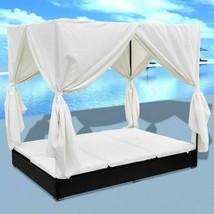 vidaXL Outdoor Sun Lounger Poly Rattan Wicker Black 2-Person Bed Curtain... - $324.99