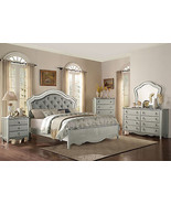 ISABELLA 5pcs Traditional Silver Bedroom Set Furniture w/ Queen Fabric P... - $1,975.89