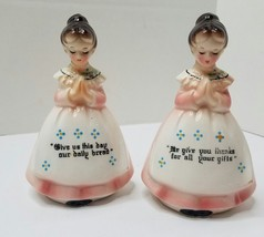 Vintage Porcelain Enesco Praying Ladies Salt & Pepper Shaker Set Give Us... - $12.82