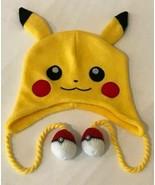 Pokemon Pikachu Knit Hat Pokeball Pom Poms Official Hat Costume Laplande... - $8.99