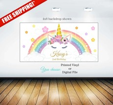 Unicorn birthday backdrop | Unicorn birthday party backdrop| Rainbow uni... - $10.00