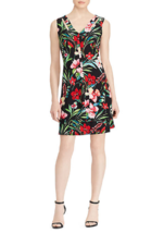 NWT AMERICAN LIVING BLACK PINK FLORAL FLARE DRESS SIZE 10 12 14 SIZE 16 $79 - $26.52+