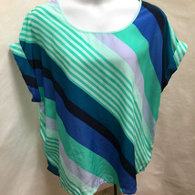 Faded Glory 3X 22W 24W Top Diagonal Striped Cuffed Cap Sleeve Plus Size Shirt - $19.58