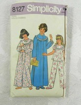 Vintage 1977 Simplicity Sewing Pattern 8127 Girl's Robe Gown Pajamas Siz... - $11.87