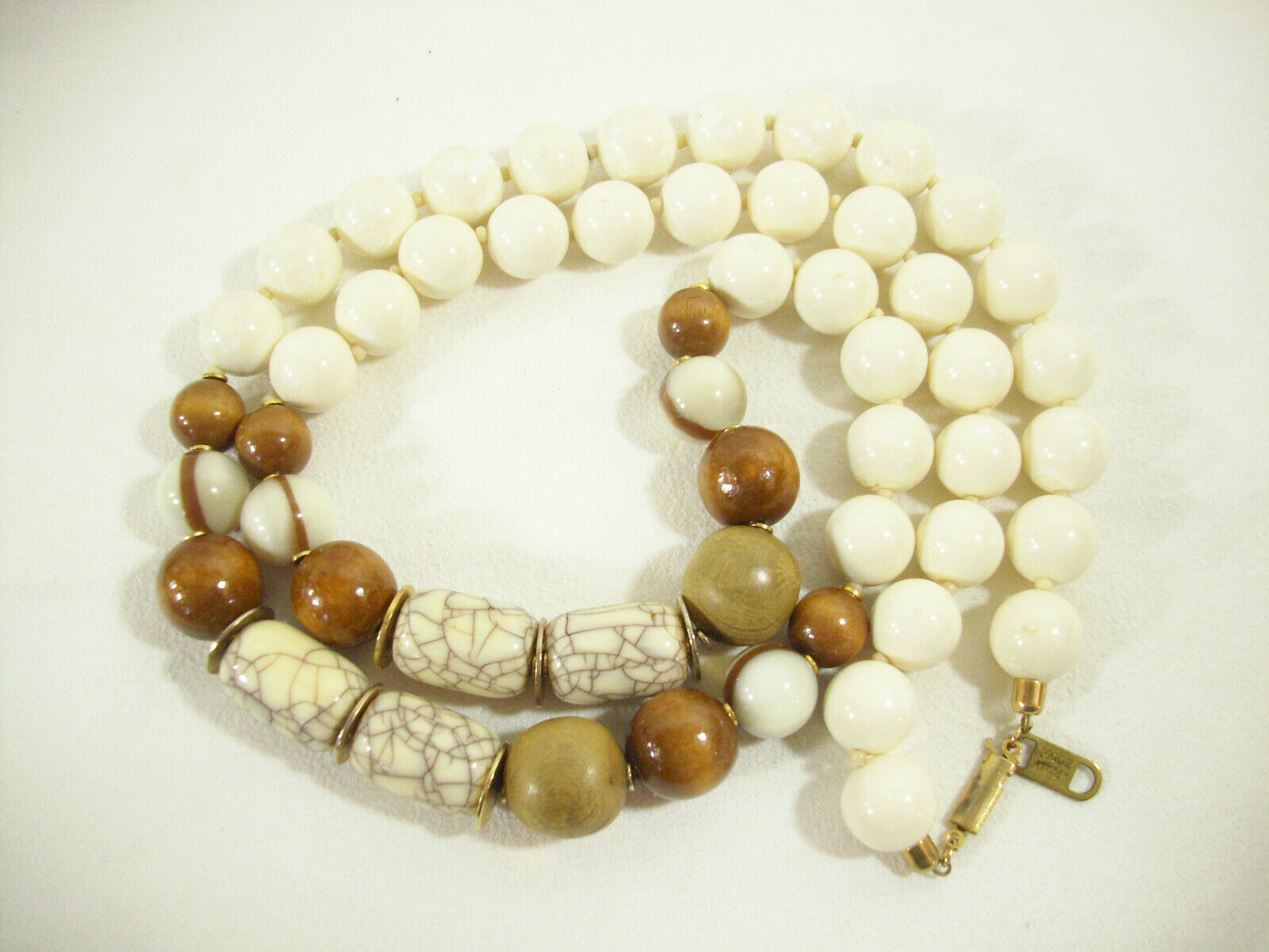 White Brown Tan Beads Necklace Wood Marbled Strand String Italy Vintage Estate