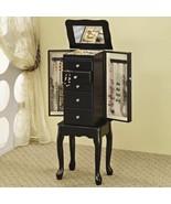 Black Finish Wood Jewelry Armoire Storage Cabinet 5 Drawers Mirror Organ... - $154.34