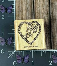 Stampin' Up! Lace Heart Flower Rose Rubber Stamp 1997 Wood Mount #AH11 - $2.23
