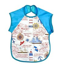 Summer Cotton Waterproof Short Sleeved Bib Baby Feeding Smock SAILBOAT, 1-3Years
