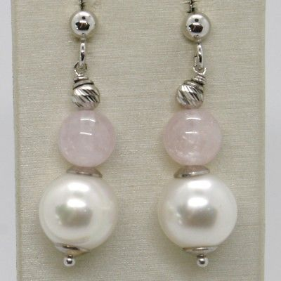 925 STERLING SILVER PENDANT EARRINGS WITH ROSE QUARTZ SPERES AND PEARLS