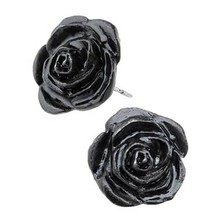 Alchemy Gothic The Romance of Black Rose Stud Earrings Surgical Posts Pa... - $14.95