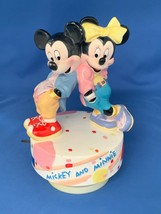 """Schmid Walt Disney Mickey & Minnie Mouse Music Box Has On And off Switch 7"""" Tall - $26.52"""