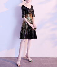 Knee Length Black Gold Sequin Dress Sleeved V Neck Sequin Dress Wedding Dress image 4