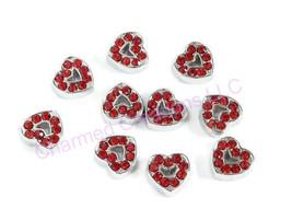 10pc Floating Charm Lot Red CZ Rhinestone Love Heart For Glass Memory Locket - $7.91