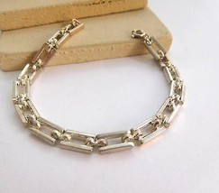 "Vintage Korea Silver Tone Rectangle Link 7.25"" Chain Bracelet L29 - $14.44"