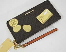 NWT Michael Kors Illustrations Fly Away Continental Wallet in Brown/Orange - $149.00