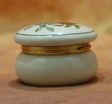 VTG Porcelain Trinket Ring Box Pansy Flowers Gold Metal Hinged Lid by Partylite - $7.92