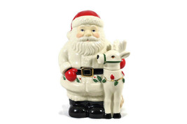 Lenox Holiday Santa & Deer Covered Candy Dish 6.5 Inch - $50.48