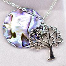 Storrs Wild Pearle Abalone Shell Tree of Life Pendant w/ Silver Tone Necklace image 3