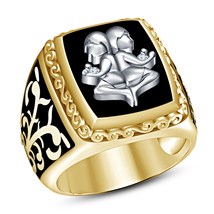 14k Yellow Gold Plated Pure 925 Silver Black Enamel Band Zodiac Sign Gemini Ring - $103.25