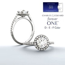 1.50 Carat Moissanite Forever One Halo Ring in 14K Gold (Charles & Colva... - $1,395.00