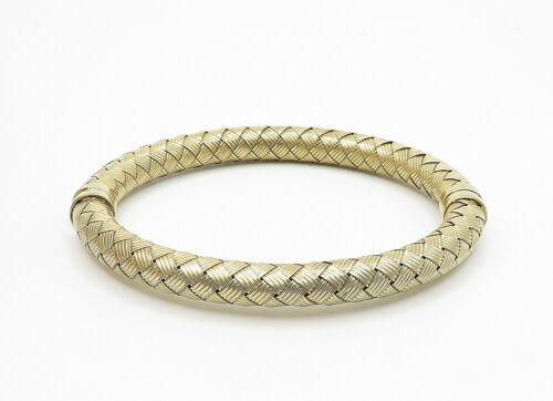925 Sterling Silver - Vintage Hollow Weaved Gold Plated Bangle Bracelet - B6230 image 2