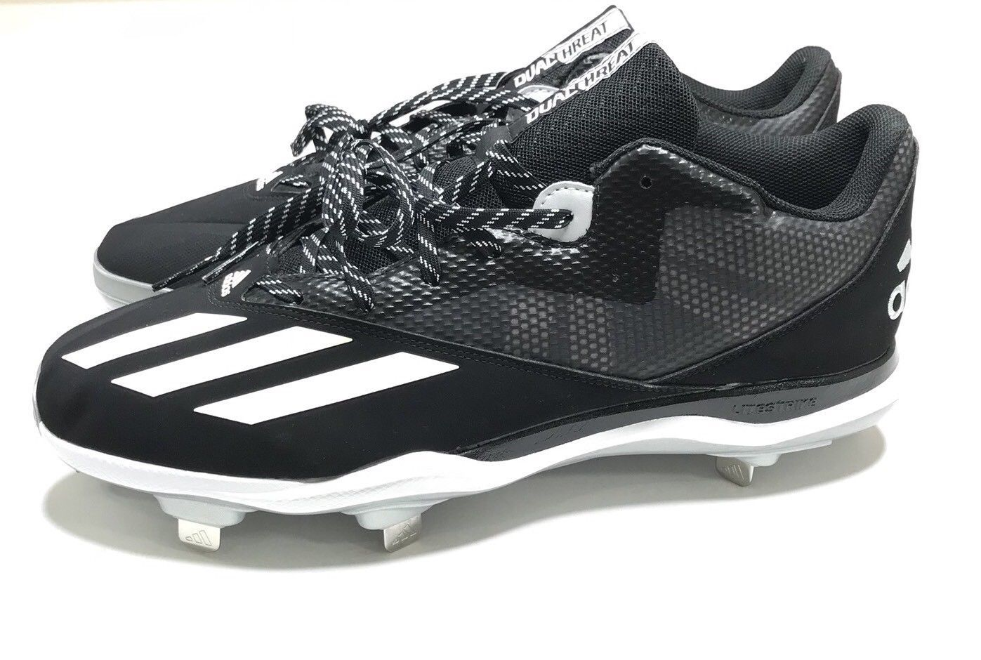 a4af16403835 Adidas Dual Threat Cleats NEW Men Size 13 Black White Athletic Sport Shoes