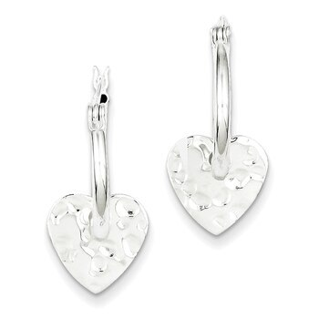 Primary image for Lex & Lu Sterling Silver Polished & Hammered Heart Dangle Hoop Earrings