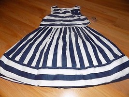 Girl's Size 6X Savannah Navy Blue White Striped Cotton Summer Dress New - $22.00