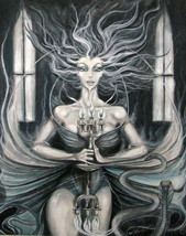 """""""THE WIDOW"""" Painting by local CA artist, Acrylic on Canvas, Surrealism 2... - $699.99"""