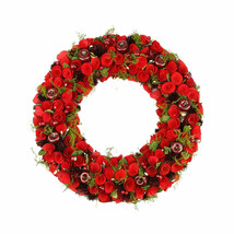"20"" Red Wooden Rose and Berry Artificial Christmas -  tkcc - Free Shipping - $83.95"