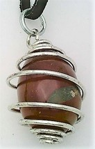Carnelian Agate Egg Stainless Steel Spiral Wrap Pendant 1 - $10.92