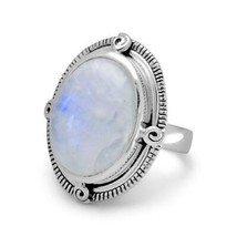 .925 Sterling Silver Oxidized Oval Rainbow Moonstone Women's Ring - $103.66