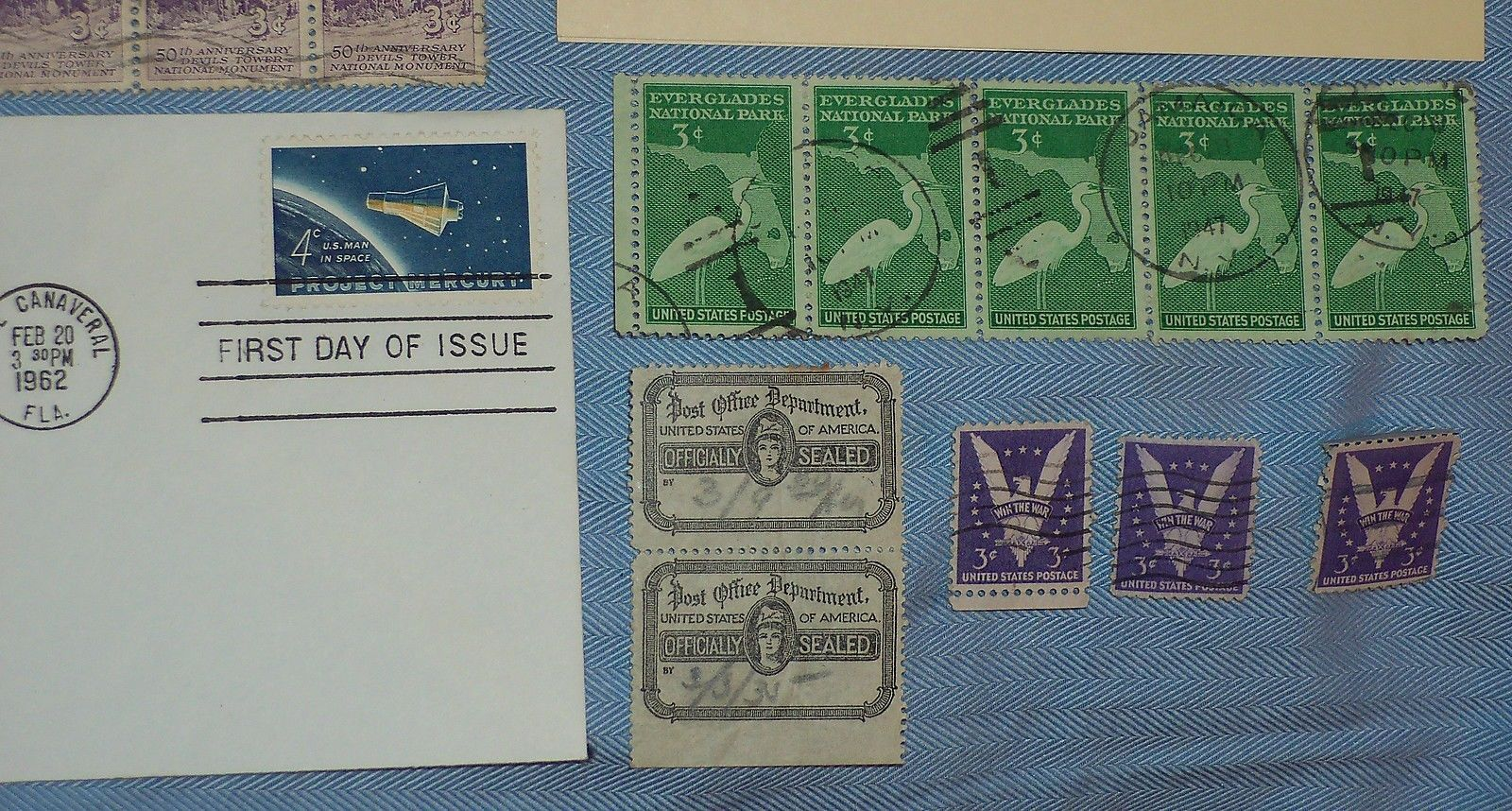 Vintage Mixed Lot 1930s War Stamps 1st Day Project Mercury Everglades