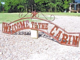 Metal Welcome to the CABIN Sign Wall Entry Gate EXTRA LARGE 56 1/2 inch bz - $179.98