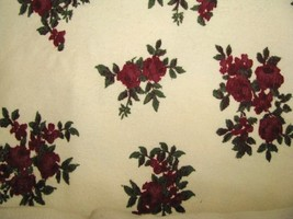 "Roses on Cream Vintage heavy Flannel, 1 yard 58"" wide - $9.95"
