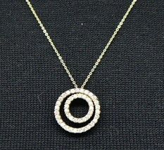 Lenox .925 Sterling Silver Clear Rhinestone Double Circle Necklace Vintage - $34.64