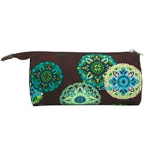 Longaberger Sisters Adorn Teal Brown Make Up Bag Large Sun Glass Case - $12.82
