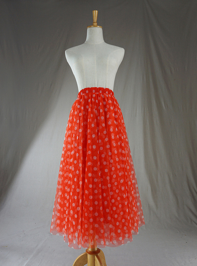 Tulle skirt orange dot 1