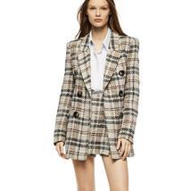 Women's Famous English Designer 2 Piece Solid Khaki Plaid  Blazer Set image 1