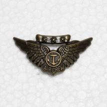 "USAF Navy combat Aircrew wing 1 3/4"" wide insignia pin metal bronze tone nice! - $6.85"
