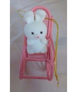 Avon Spring Bunny Collection Bunny in a Pink Metal Rocker Easter Ornament - $3.00